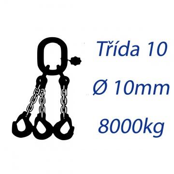 Vázací řetěz třídy 10, třípramenný, oko-hák, průměr 10mm, nosnost 8000kg