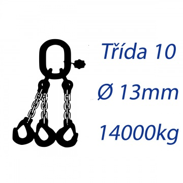 Vázací řetěz třídy 10, třípramenný, oko-hák, průměr 13mm, nosnost 14000kg