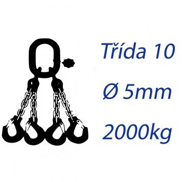 Vázací řetěz třídy 10, čtyřpramenný, oko-hák, průměr 5mm, nosnost 2000kg