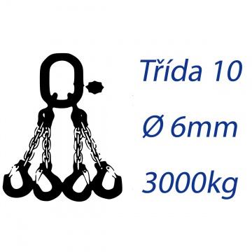 Vázací řetěz třídy 10, čtyřpramenný, oko-hák, průměr 6mm, nosnost 3000kg
