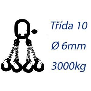 Vázací řetěz třídy 10 čtyřpramenný průměr 6mm nosnost 3000Kg