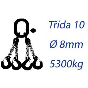 Vázací řetěz třídy 10, čtyřpramenný, oko-hák, průměr 8mm, nosnost 5300kg
