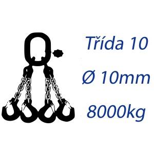 Vázací řetěz třídy 10, čtyřpramenný, oko-hák, průměr 10mm, nosnost 8000kg