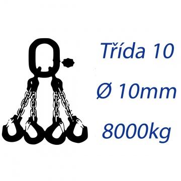 Vázací řetěz třídy 10 čtyřpramenný průměr 10mm nosnost 8000Kg