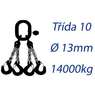 Vázací řetěz třídy 10, čtyřpramenný, oko-hák, průměr 13mm, nosnost 14000kg