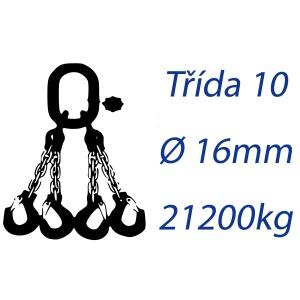 Vázací řetěz třídy 10, čtyřpramenný, oko-hák, průměr 16mm, nosnost 21200kg
