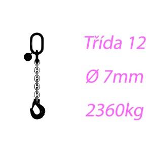Vázací řetěz tř.12, jednopramenný, oko-hák, 7mm, nosnost 2360kg
