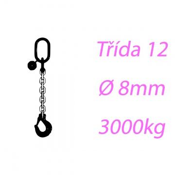 Vázací řetěz tř.12, jednopramenný, oko-hák, 8mm, nosnost 3000kg
