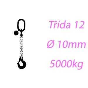 Vázací řetěz tř.12, jednopramenný, oko-hák, 10mm, nosnost 5000kg