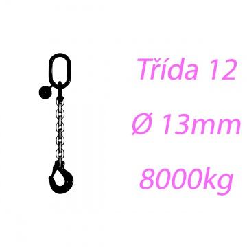 Vázací řetěz tř.12, jednopramenný, oko-hák, 13mm, nosnost 8000kg