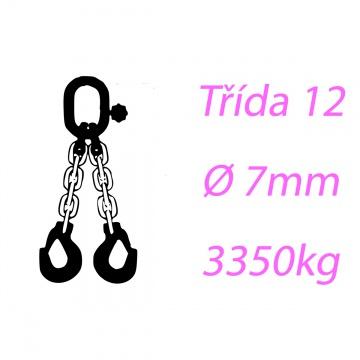 Vázací řetěz tř.12, dvoupramenný, oko-hák, 7mm, nosnost 3350kg