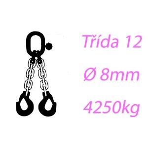 Vázací řetěz tř.12, dvoupramenný, oko-hák, 8mm, nosnost 4250kg