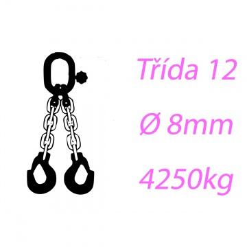 Vázací řetěz třídy 12 dvoupramenný průměr 8mm nosnost 4250Kg