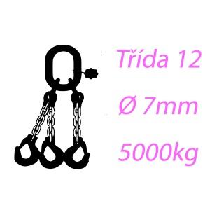 Vázací řetěz tř.12, třípramenný, oko-hák, 7mm, nosnost 5000kg