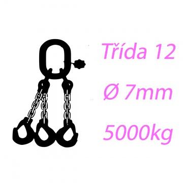 Vázací řetěz třídy 12 třípramenný průměr 7mm nosnost 5000Kg