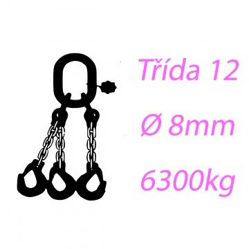 Vázací řetěz tř.12, třípramenný, oko-hák, 8mm, nosnost 6300kg