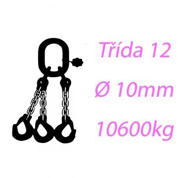 Vázací řetěz tř.12, třípramenný, oko-hák, 10mm, nosnost 10600kg