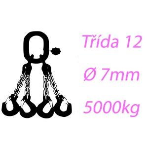 Vázací řetěz tř.12, čtyřpramenný, oko-hák, 7mm, nosnost 5000kg