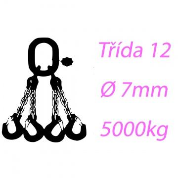 Vázací řetěz třídy 12 čtyřpramenný průměr 7mm nosnost 5000Kg