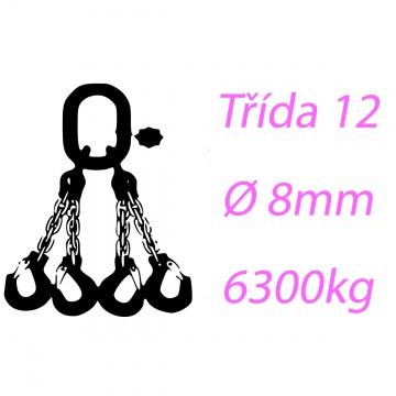 Vázací řetěz třídy 12 čtyřpramenný průměr 8mm nosnost 6300Kg