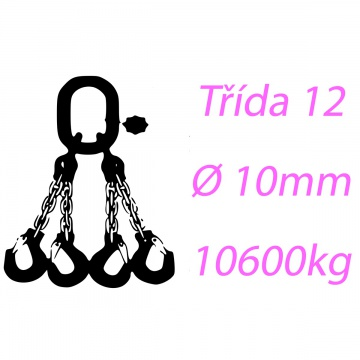 Vázací řetěz třídy 12 čtyřpramenný průměr 10mm nosnost 10600Kg
