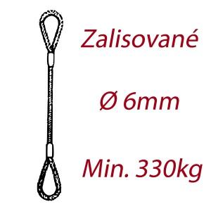 Ocelové vázací lano, oko-oko, průměr 6mm jednopramenné, zalisované