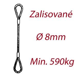 Ocelové vázací lano, oko-oko, průměr 8mm jednopramenné, zalisované
