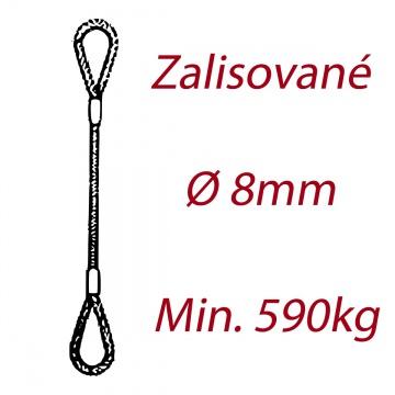 Ocelové vázací lano oko-oko, průměr 8mm jednopramenné, zalisované
