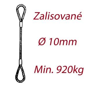 Ocelové vázací lano, oko-oko, průměr 10mm jednopramenné, zalisované