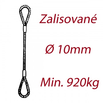 Ocelové vázací lano oko-oko, průměr 10mm jednopramenné, zalisované