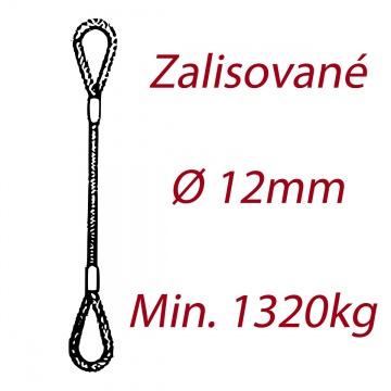 Ocelové vázací lano oko-oko, průměr 12mm jednopramenné, zalisované