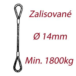 Ocelové vázací lano, oko-oko, průměr 14mm jednopramenné, zalisované