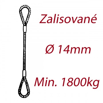 Ocelové vázací lano oko-oko, průměr 14mm jednopramenné, zalisované