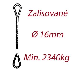 Ocelové vázací lano, oko-oko, průměr 16mm jednopramenné, zalisované
