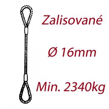 Ocelové vázací lano oko-oko, průměr 16mm jednopramenné, zalisované