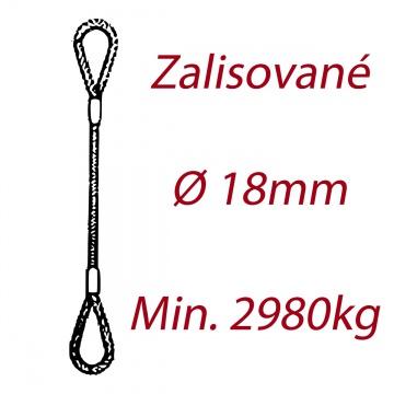 Ocelové vázací lano oko-oko, průměr 18mm jednopramenné, zalisované