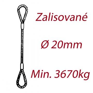 Ocelové vázací lano, oko-oko, průměr 20mm jednopramenné, zalisované