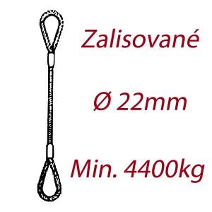 Ocelové vázací lano, oko-oko, průměr 22mm jednopramenné, zalisované
