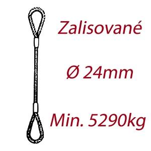 Ocelové vázací lano, oko-oko, průměr 24mm jednopramenné, zalisované