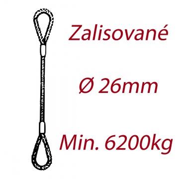 Ocelové vázací lano, oko-oko, průměr 26mm jednopramenné, zalisované