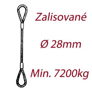 Ocelové vázací lano, oko-oko, průměr 28mm jednopramenné, zalisované