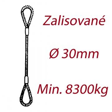 Ocelové vázací lano, oko-oko, průměr 30mm jednopramenné, zalisované