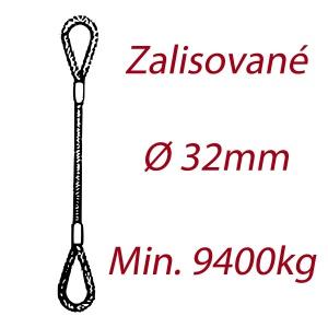 Ocelové vázací lano, oko-oko, průměr 32mm jednopramenné, zalisované