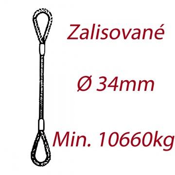 Ocelové vázací lano, oko-oko, průměr 34mm jednopramenné, zalisované