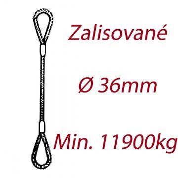 Ocelové vázací lano, oko-oko, průměr 36mm jednopramenné, zalisované