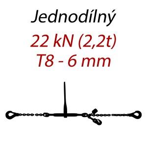 Přivazovací řetěz jednodílný s háky, třída 8, řetěz 6 mm, upínací síla 22kN