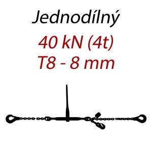 Přivazovací řetěz jednodílný s háky, třída 8, řetěz 8 mm, upínací síla 40kN