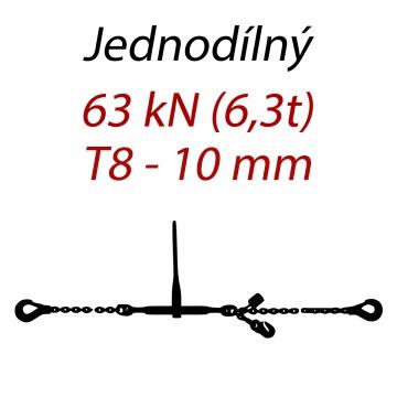Přivazovací řetěz jednodílný s háky, třída 8, řetěz 10 mm, upínací síla 63kN