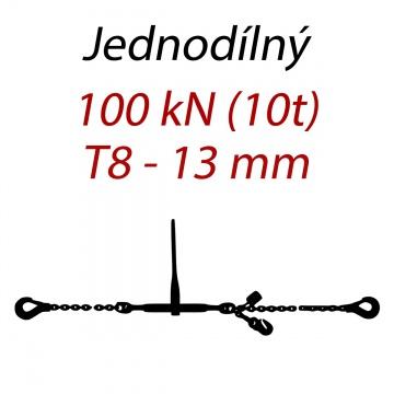 Přivazovací řetěz jednodílný s háky, třída 8, řetěz 13 mm, upínací síla 100kN