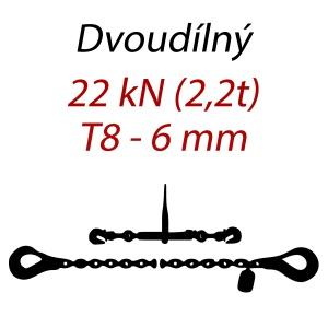Přivazovací řetěz dvoudílný s háky, třída 8, řetěz 6 mm, upínací síla 22kN